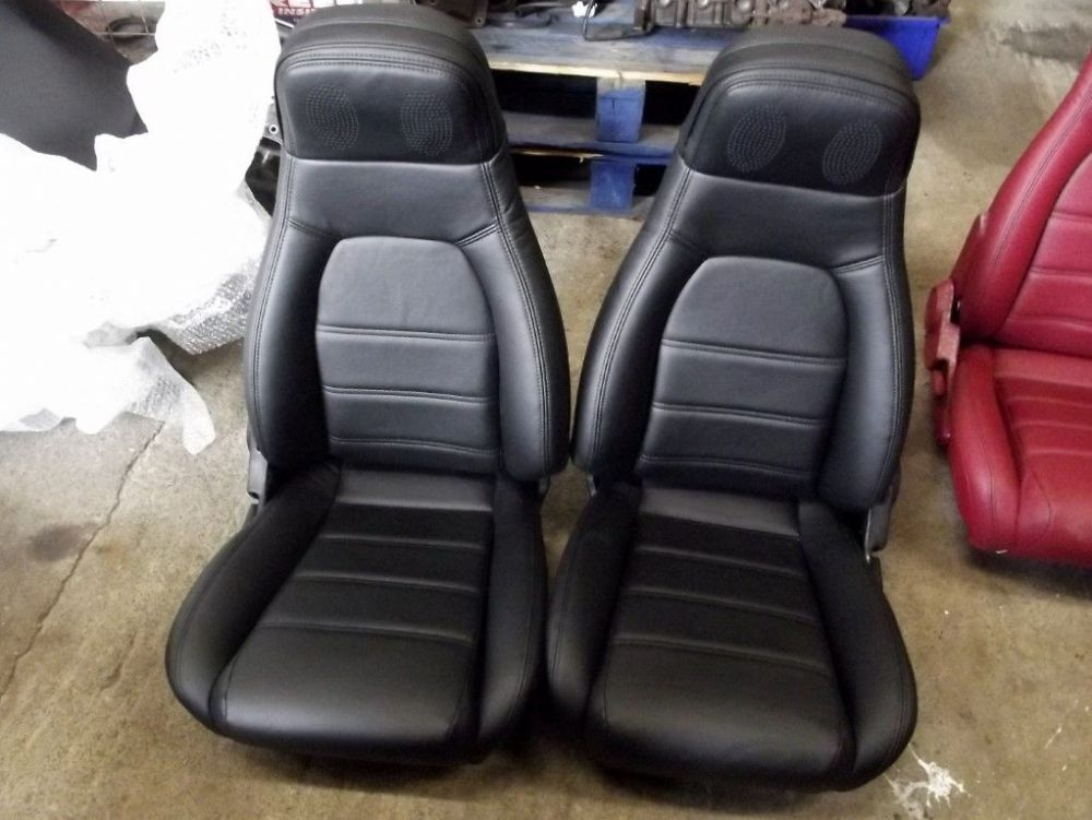 Seats, Mazda MX-5, pair in new black bonded leather, high back, mk1 1.8
